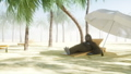 Funny gorilla in glasses lies on a deckchair. Beach and palms. Spa, resort concept. Realistic FullHD 44779426