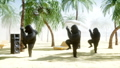 Funny gorillas and monkeys dancing on sunny seaside. Tourism and rest concept. Realistic FullHD 44779430