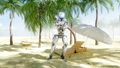 Funny robot dancing on sunny seaside. Tourism and rest concept. Realistic FullHD animation. 44779507