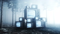 Old antique TV in fog night forest. Fear and horror. Mistic concept. Broadcast. Realistic FullHD 44780158