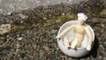 川の脇の陶器の風呂に入っている木の人形 44802440