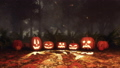Halloween pumpkin and fairy lights in night forest 44813708