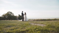 Happy wedding couple holds hand in hand and walks at ancient castle 45006612