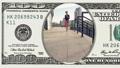 Beautiful woman running in frame 100 dollar bill 45050359
