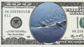 Water stream flows around log in 100 dollar bill 45050371