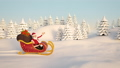 Santa Claus driving through snow in his sleigh 45353663