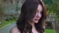 Close up portrait of luxury woman walking in sunny day in slow motion. 45360798
