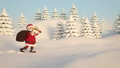 Santa Claus running through snowy landscape 45511579