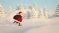 Santa Claus walking through snowy landscape 45511580