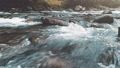 Mountain river in autumn forest. Water close-up 45520626