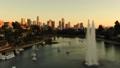 洛杉矶摩天大楼视图的空中图象从Ecopark 45675381