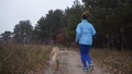Female trail runner with pet jogging in the wood 45719531