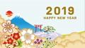 영어 賀詞있는 2019 년 새해 후지산과 운해 애니메이션 45797175