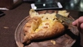 Close up Khachapuri eating in an georgian restaura 45813040