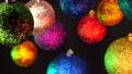 New 2019 year mood. Christmas tree toys, shining balls rotating on black wall. Decoration. Abstract 45815719