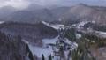 Aerial footage of village in winter 45817283