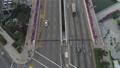 Aerial view of highways and bridges in Singapore. Shot. Top view of traffic in highway bridge in 45946639