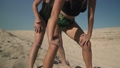 Two women with nice bodies dancing twerk at the beach near each other Ladies move their butts 45947751