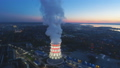 panorama cooling tower at white light and rising steam cloud 45969585