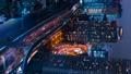 垂直材料东京,夜景,游戏中时光倒流,从滨松町看到的汐留新桥方向 46067889