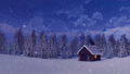 Solitary mountain house at snowfall winter night 46252735