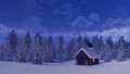 Solitary log cabin in mountains at winter night 46252736