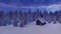 Snowbound house in mountains at snowy winter night 46252737