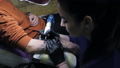 Brunette female tattooer making tattoo on the man's arm of her client with gun. Master working 46334990