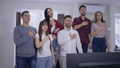 group of friends sport fans singing national anthem before watching sports championship on TV 46395001