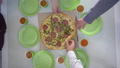pizza top view, hands take pieces of food and lay themselves on plate making toast with paper cups 46399472