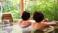 溫泉旅遊露天浴池父母和孩子沐浴溫泉圖像 46424109
