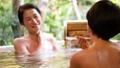 溫泉旅遊露天浴池父母和孩子沐浴溫泉圖像 46424115