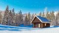 Snowbound mountain cabin at snowfall winter day 46510069