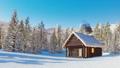 Snowbound log cabin in mountains at winter day 46510071