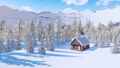 Snowbound timber house in mountains at winter day 46510072