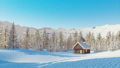 Snow covered solitary mountain cabin at winter day 46510073