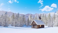 Mountain cabin and fir forest at snowy winter day 46510075