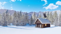 Snow covered alpine mountain house at winter day 46510076