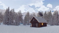 Log cabin with smoking chimney at snowy winter day 46510078