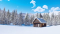Snow covered log cabin in mountains at winter day 46510079