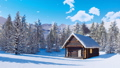 Cozy snowbound mountain cabin at clear winter day 46510080
