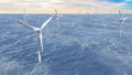 Wind farm, wind turbines in the sea, animation 46552121