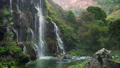 Scenic nature of beautiful waterfall and pool of fresh water with green seaplant 46580159