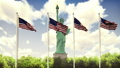 The American flags flutters in the wind on a Sunny day against the blue sky and the Statue of 46625720