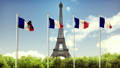 The Flag Of France. Beautiful loop animation of the French flag on the background of blue sky 46640321