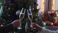 Couple toasting glasses with white champagne wine 46709389