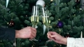 Couple toasting glasses with white champagne wine 46709391