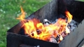 Burning wood in fire on grill place 46709392