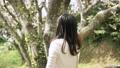 여성 벚꽃 눈보라 슬로우 모션 46777751