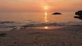 Sunset over the sea. Sunlight blinks on water surface. Gentle surf rolls on sandy beach 46890966